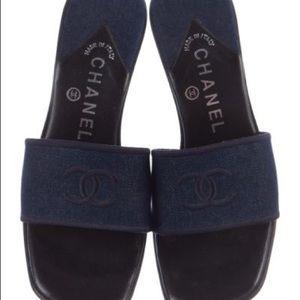 Chanel denim Block heeled slides size 7.5
